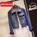 2015 New Spring High Street Americana Bomber Ladies Slim Spliced Denim Short Jeans Women Jackets and Coats CG55