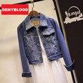 2015 nueva primavera High Street Americana bombardero para mujer delgado Spliced Denim Jeans chaquetas y abrigos CG55