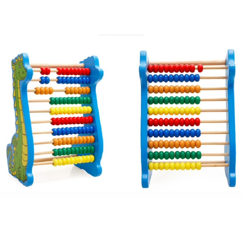 Dinosaur Wooden Beads 10-rows Abacus Counting Educational Colorful Beads Maths Toy for Kids Children