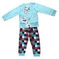 2016 pijama roupas definir desenhos animados Elsa roupas Kid Baby Boy meninas conjunto de roupas infantis pijama Anna Olaf trajes crianças camisetas