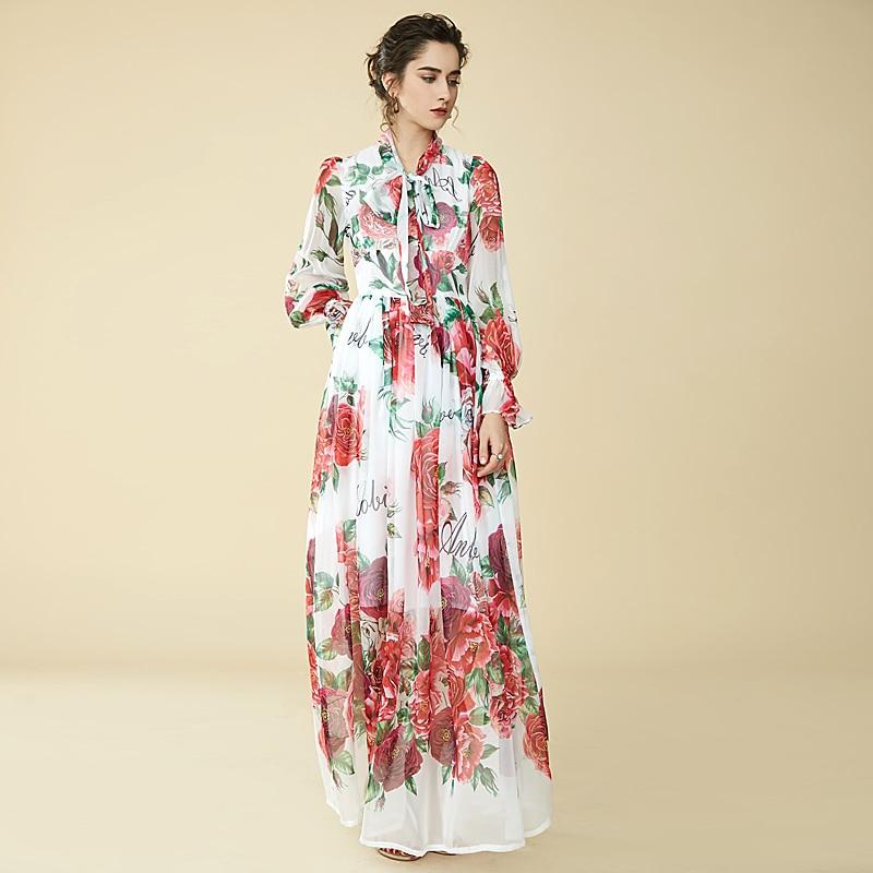 Högkvalitativa Runway Floral Long Dress 2018 Ny Sommar Mode Women - Damkläder - Foto 2