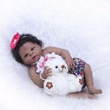 "NPK Reborn Girl Dolls 23"" 57 cm black Girl So Truly Realistic Baby Doll Toy Full Silicone Body Waterproof Kids Playmates"