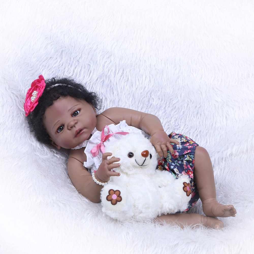 NPK Reborn Girl Dolls 23 ''57 см, черная девочка, действительно Реалистичная, Детская кукла, игрушка, полностью Силиконовое тело, водонепроницаемый, дети, друзья