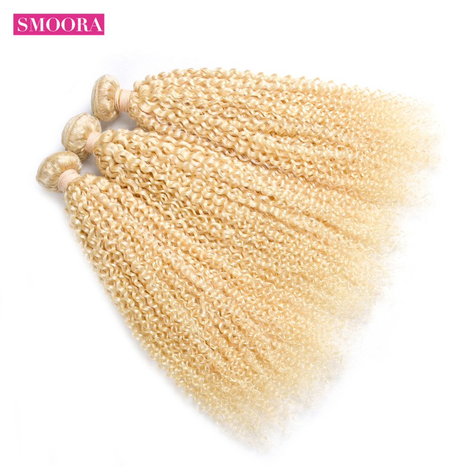 Smoora 613 Blonde Kinky Curly  Bundle 10- 30 Inch   Light Honey Blonde 1/3/4 /10 Bundles / Lot 5