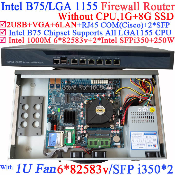 1U Firewall Router with B75 chipset two SFP port intel i350 six 82583v 1000M LAN NO CPU Wayos ROS Mikrotik support 1G RAM 8G SSD microtik ros 1u network router hardware with six 1000m 82574l gigabit nic two intel i350 sfp fiber ports no cpu 1g ram 4g slc
