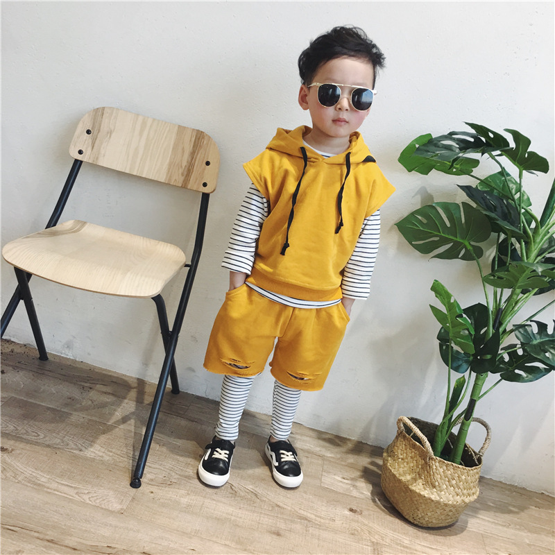 2018 Spring Style New Childrens Clothing Boys And Girls Full Cotton False Two Sets Sleeveless Trousers Kids Boys Clothes