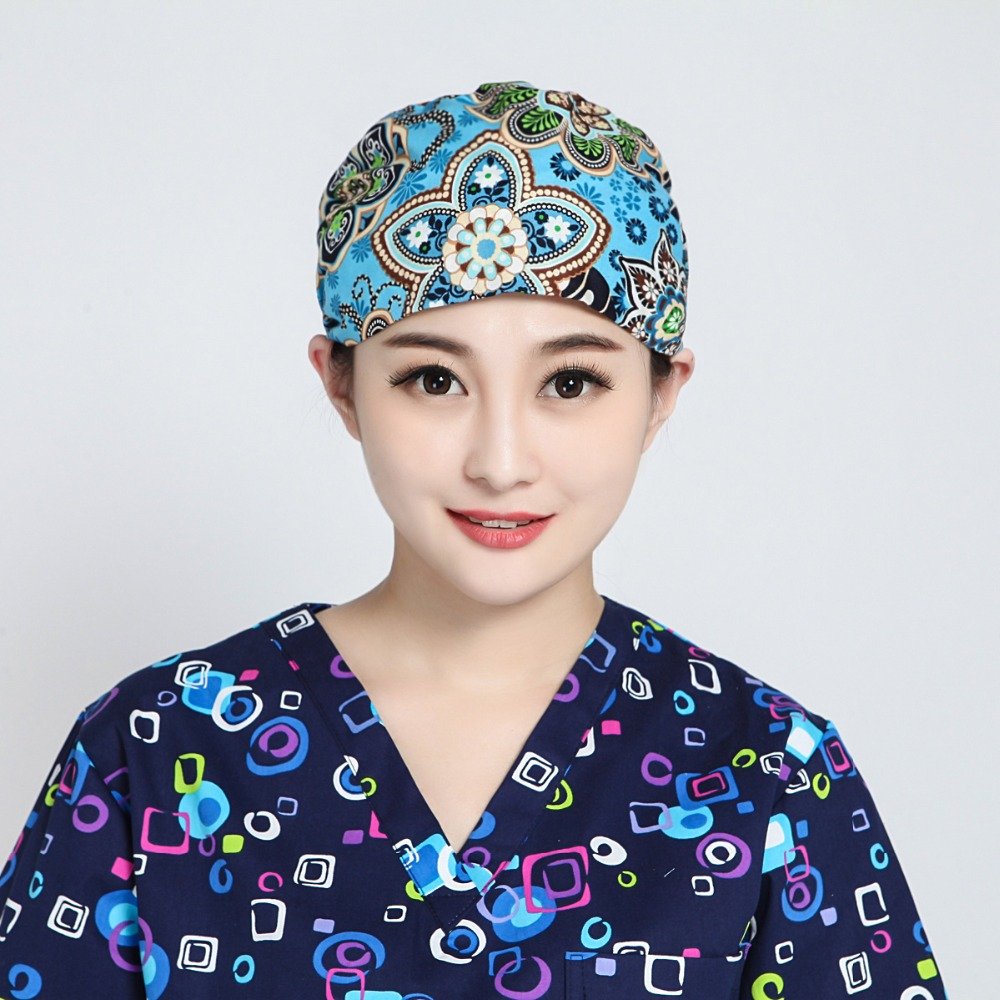 2019QHS Lab Printed Hospital Operation Surgical Cap Unisex Medical Caps For Doctors Nurse 100% Cotton Adjustable At Back  9137