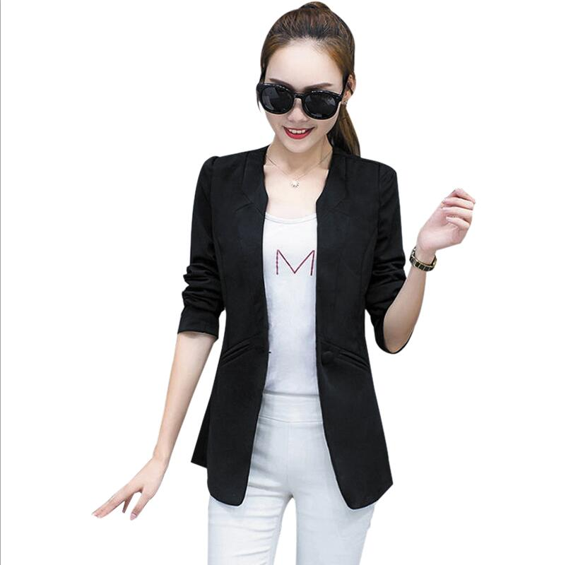Back To Search Resultswomen's Clothing Suits & Sets Analytical Notched Wear Female Suits Blazer Casual Slim Long Sleeve Single Button Blazers White Blue Work Formal Jackets Blazer Feminino