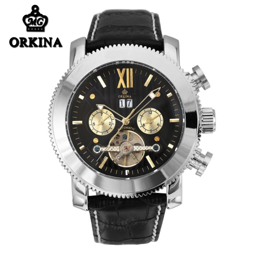MG Orkina 47MM Dial Tourbillon Automatic Auto Date Leather Watch Men Mechanical Luminous Auto Week Water