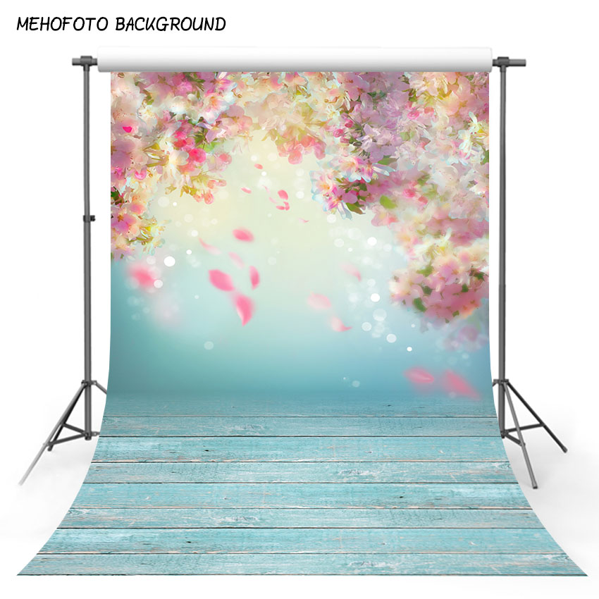 MEHOFOTO Wedding Backdrops for Photography Blue Wood Floor Baby Floral Photo Background for Photo Booth Studio Props ZH-255 piano backdrops wooden floor wedding stor photo props background vinyl 5x7ft or 3x5ft