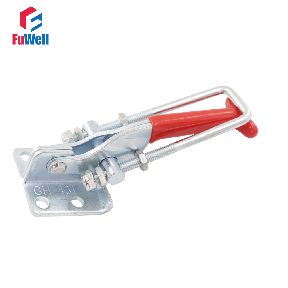 2pcs GH-431 Toggle Clamps 300Kg Holding Capacity Door Latch Type Quick Hand Tool Metal Toggle Clamp Latch