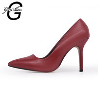 GENSHUO Solid Color Sexy Women Pumps Pointed Toe Thin High Heels 2017 New Fashion Luxury Women