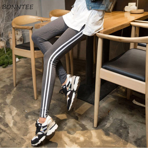 Image 3 - Pants Women 2020 Skinny High Elasticity Simple Trendy Pencil Trousers Student Striped Korean Cotton Sweatpants Womens All match