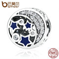 BAMOER 100% Real 925 Sterling Silver Round Blue STARS Clearly CZ Bead Charms Fit Women Bracelets DIY Accessories PAS379