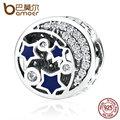 Bamoer 100% real 925 sterling silver rodada estrelas azuis claramente cz bead encantos fit mulheres diy pulseiras acessórios pas379