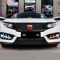 UNON For Honda Civci 10th 2016 2017 2018 LED DRL Car daylight Daytime Running Lights With Fog Light Hole Auto Accessories