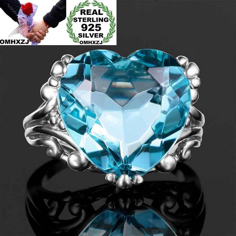 OMHXZJ Wholesale European Fashion Woman Girl Party Wedding Gift Silver Blue Heart Topaz 925 Sterling Silver Ring RR109