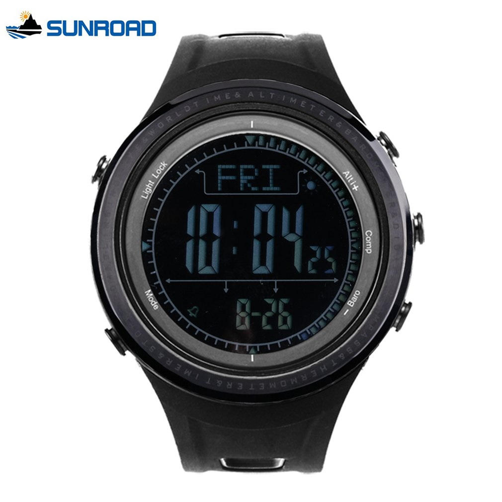 все цены на SUNROAD Sports Watch Men Waterproof Weather Forcast Pedometer Alimeter Barometer Stopwatch Backlight Climbing Digital Watches онлайн