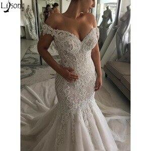 Image 1 - 2019 Sang Trọng Sexy Mermaid Wedding Dresses Tắt Shoulder Pearls Crystals Tòa Train Dubai Ả Rập Wedding Dress Bridal Gowns