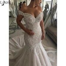 2019 luxuriöse Sexy Meerjungfrau Brautkleider Off Schulter Perlen Kristalle Gericht Zug Dubai Arabisch Hochzeit Kleid Brautkleider