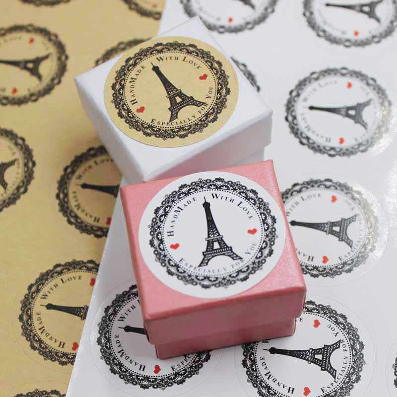 "200PCS  Vintage ""HANDMADE"" Series Kraft seal sticker DIY gifts labels self adhesive EIFFEL TOWER printed tag labels 3.8cm round"
