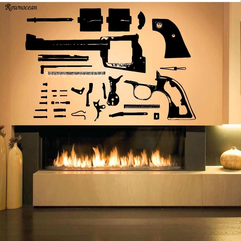 Home & Garden Constructive Revolver Gun Weapon Pistol Decomposition Disassembly Pattern Vinyl Wall Decals Home Decor Room Wall Sticker Removable Mural Gu08 Crease-Resistance