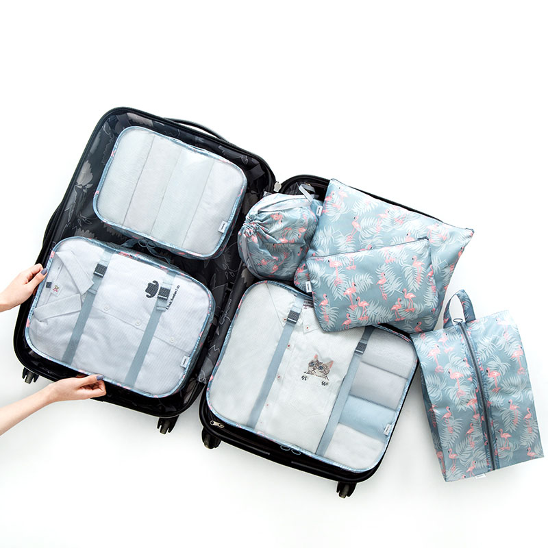 Travel luggage storage bag 7PCs Set Waterproof portable suit Clothes shoes underwear Luggage Organizer Portable Container