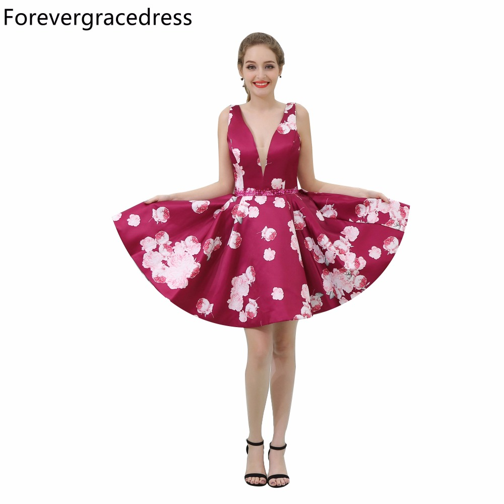 Forevergracedress 2018 New Arrival Floral Print Cocktail Dress Deep V Neck Knee Length Short Homecoming Party Gown Plus Size