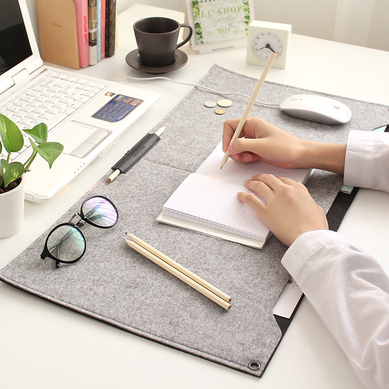 2016 New 2 Ps Modern Table Felt Office Desk Mat Durable Computer Woolen Pu Leather Mouse Pad Pen Holder Fashion S21