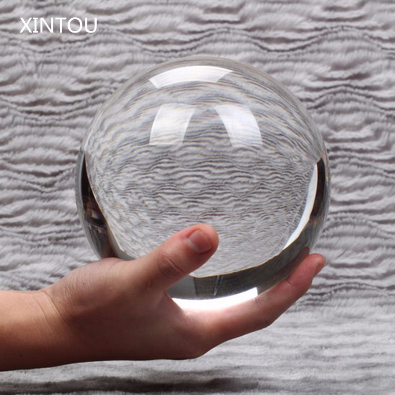 XINTOU Large K9 Crystal Glass Ball Clear Feng shui Desk Ornaments Good luck Sphere Globe Crafts For Home Decoration Accessories