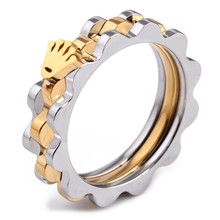 Gold Silver Plated Stainless Steel Gear & Hand Of Fatima Hamsa Wedding Rings For Women Size 6,7,8,9