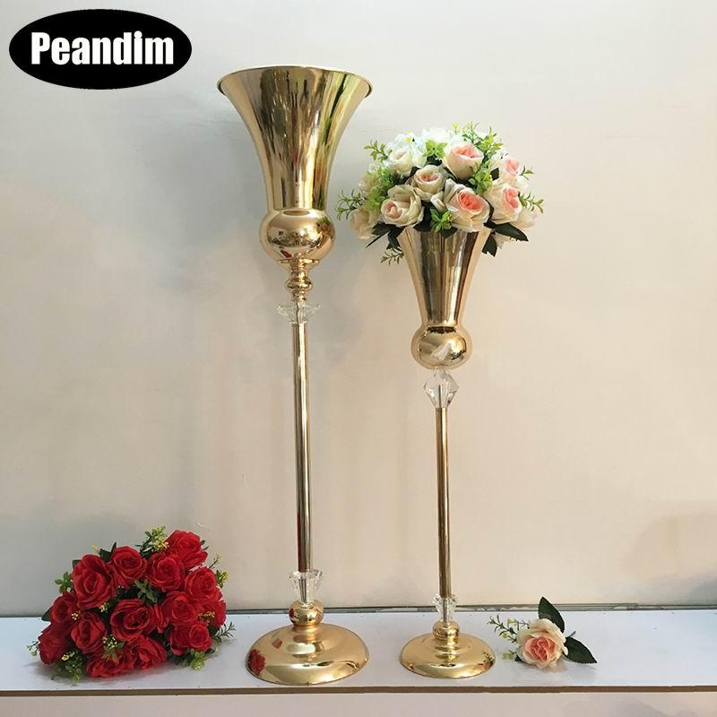 PEANDIM золото ваза Подсвечник свадебные хрустальные канделябры центральные вечерние дорога свинец цветок подставка для домашнего декора