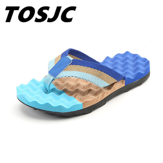 25005f6fee2033 TOSJC 2018 Summer Beach Slippers Men Shoes Flip Flops Stripe Outside Massage  Slipper Mens Non-
