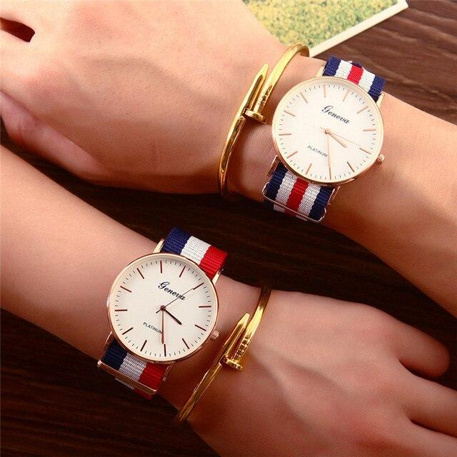 Fashion Casual Quartz Watch with Multicolor Nylon Cloth Watchband Wristwatch Sim