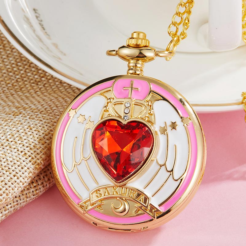 Vintage Japan Anime Cardcaptor Sakura Pocket Watch Necklace Women Quartz Fob Clock Chain Pendant Children Cute Gift Girl Kid