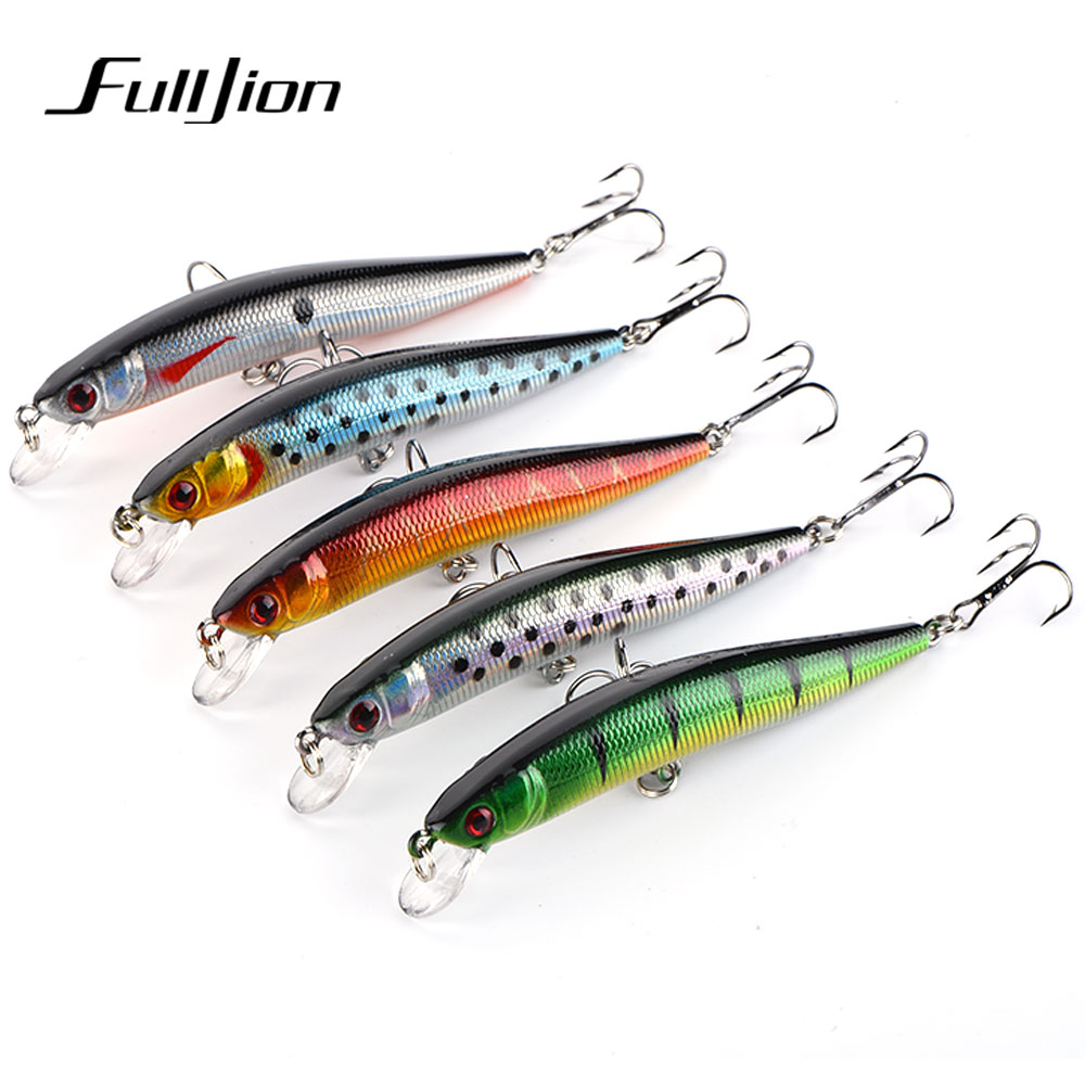 Fulljion 5pcs/lot 9.5cm 8.7g Fishing Lures Wobblers Minnow 6# Hooks 3D Eyes Crankbaits Artificial Hard Baits Pesca