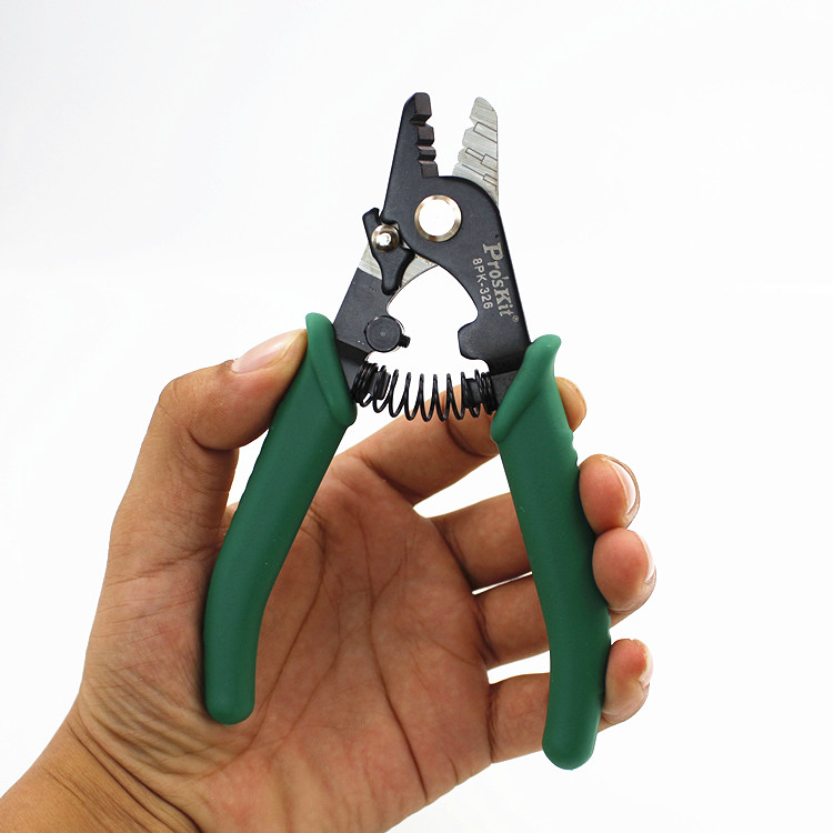 Image 3 - Proskit 8PK 326 clamp Fiber stripping pliers 8PK 326 Tri Hole Fiber Optic Stripper 8PK 326 FTTH FIber Wire stripper 1pcsFiber Optic Equipments   - AliExpress