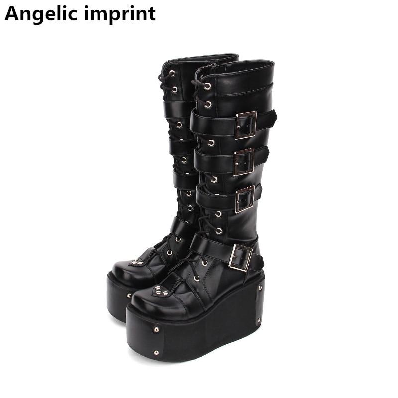 40794d7a7 10 Cm Mujeres Chica Zapatos Lolita Botas Impresión Tacones Motocicleta  Negro Bombas Princesa Punky Mori Remaches Mujer Angelical Cuñas Señora  xStEawRTqw