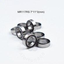 MR117RS 7*11*3 (мм) Бесплатная доставка, подшипник ABEC-5, резиновый, герметичный, миниатюрный, мини подшипник MR117 MR117RS, хромированный стальной подшипн...