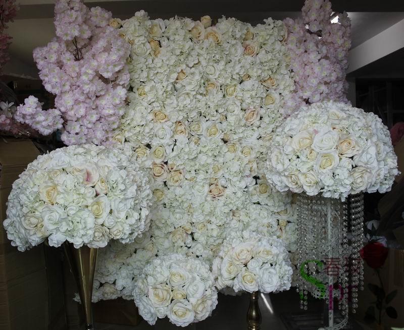 SPR luce champagne pianificazione di nozze artificiale del fiore della rosa contesto della parete decorazione della tavola centrotavola fiore palla-in Fiori secchi e artificiali da Casa e giardino su  Gruppo 1