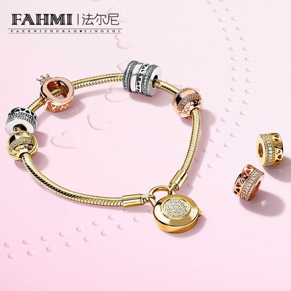 FAHMI 100% 925 Sterling Silver Shine Crown O Charm Rose Hearts of Spacer Charm LOGO HEARTS CLIP  MOMENTS SMOOTH BRACELET SETFAHMI 100% 925 Sterling Silver Shine Crown O Charm Rose Hearts of Spacer Charm LOGO HEARTS CLIP  MOMENTS SMOOTH BRACELET SET
