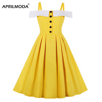 Retro Vintage Spaghetti Strap 50s Rockabilly Dress Yellow Chic Style Summer Women Robe Swing Dresses with Button Pin Up Dresses