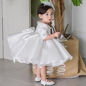 Платья для маленьких девочек с большим бантом, платье на день рождения для маленьких девочек 1 год, детское платье для свадебной вечеринки, п...