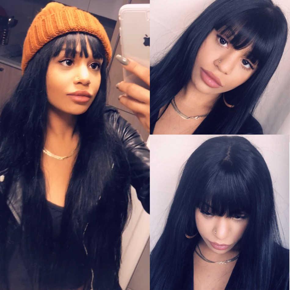 250 Плотность 13x6 Синтетические волосы на кружеве al парики с челкой прямые Синтетические волосы на кружеве парики из натуральных волос для Для женщин бразильский парик длинные черные Dolago
