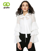 GOPLUS 2019 Spring Chiffon Ruffles Blouses Women Lace up Bow neck Butterfly Sleeve Shirts Ladies Top White Party Blusas Female