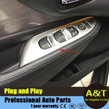 car styling for Nissan Murano 2015-2016 model chrome Window lift decorative frame abs Lift window button cover trim 4 pcs Car Ac