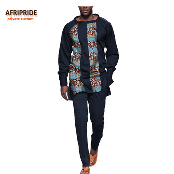 classic african autumn 2-pieces suit for men AFRIPRIDE full sleeve O-neck top+ankle length slim pant casual men's suit A731605