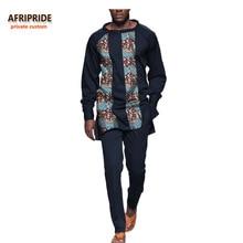 2017 otoño africano traje de 2 piezas para hombre AFRIPRIDE manga completa O-cuello top + tobillo traje delgado de los hombres casuales A731605