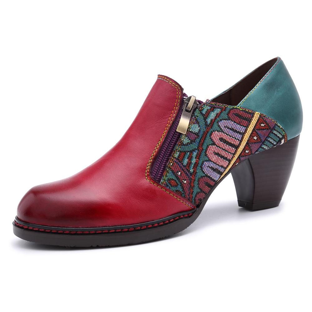 Johnature 2019 جديد الربيع/الخريف الرجعية الأزياء اليدوية جلد طبيعي مريح جولة اصبع القدم عارضة الكعوب النساء أحذية مضخات-في أحذية نسائية من أحذية على  مجموعة 1