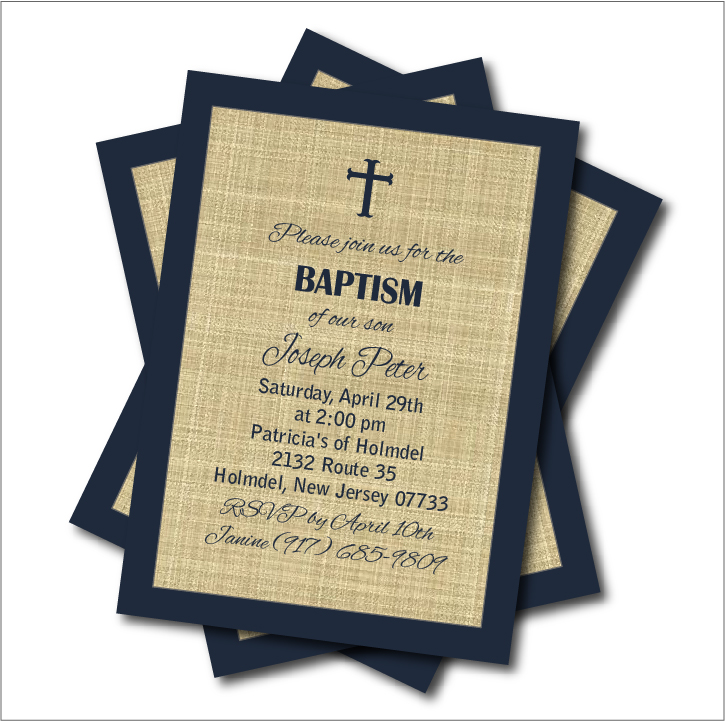20pcs/lot Navy Blue Baptism Invitation Baby shower, Birthday Invites ...
